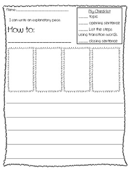 Explanatory Writing Paper and Checklist for ANY grade level!!!
