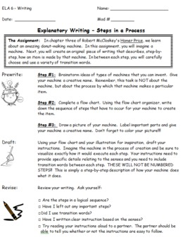 Explanatory Writing - Steps in a Process