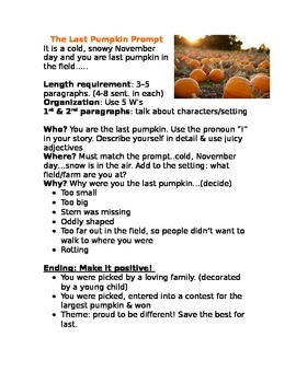 Explanatory Writing: The Last Pumpkin