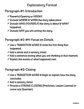 Explanatory(Narrative) Writing-Model Writing,Graphic Organizer, Format & Prompts