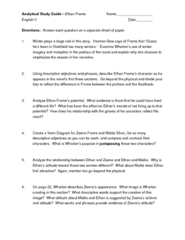 Explication Study Questions for Ethan Frome
