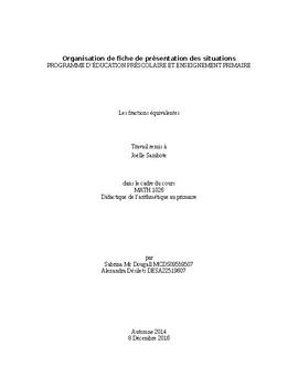 Explication du document : La rue des fractions et Les fraction équivalentes