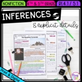 Explicit Details and Inferences in Nonfiction- 4th & 5th Grade RI.4.1 & RI.5.1