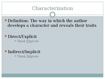 Explicit (Direct) and Implicit (Indirect) Characterization PowerPoint
