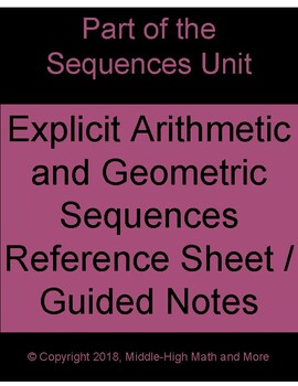Explicit Form of Arithmetic and Geometric Sequences Reference Sheet/Notes
