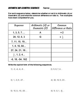 Explicit Form of Arithmetic and Geometric Sequences Worksheet | TpT