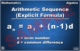 Explicit Formula for Arithmetic Sequences Math Poster