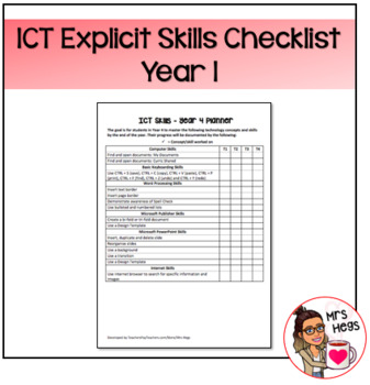Explicit ICT Skills Checklist - Year 1
