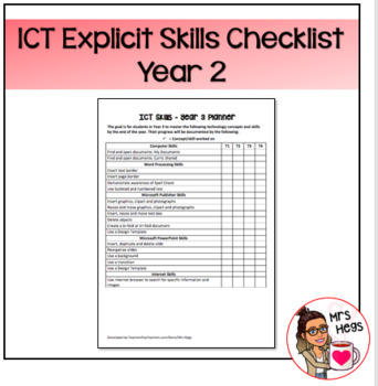 Explicit ICT Skills Checklist - Year 2
