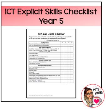 Explicit ICT Skills Checklist - Year 5