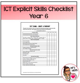 Explicit ICT Skills Checklist - Year 6