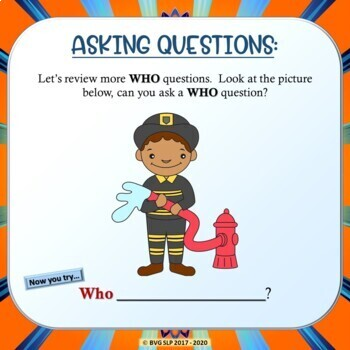Asking & Answering WH Questions Teletherapy NO PREP NO PRINT