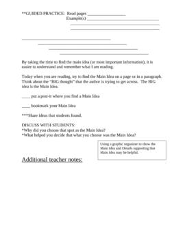 Explicit Instruction Lesson Plan - Main Idea