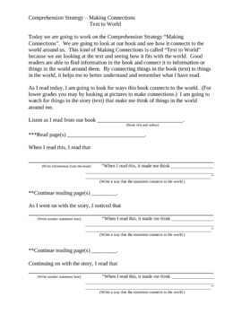 Explicit Instruction Lesson Plan - Making Connections (Text to World)