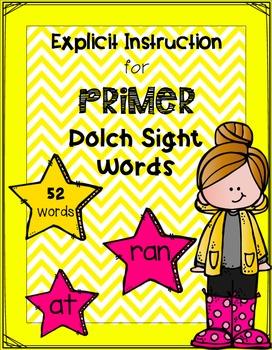 Explicit Instruction for Primer Dolch Sight Words