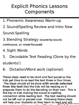 Explicit Phonics Lesson Components