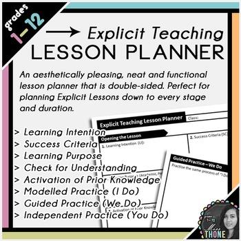 Explicit Teaching Lesson Planner