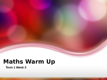 Explicit Teaching Math Warm Up Term 1 Week 2 Year 1