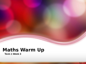 Explicit Teaching Math Warm Up Term 1 Week 3 Year 2