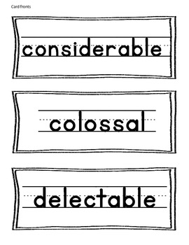 Explicit Vocabulary - considerable, colossal, delectable