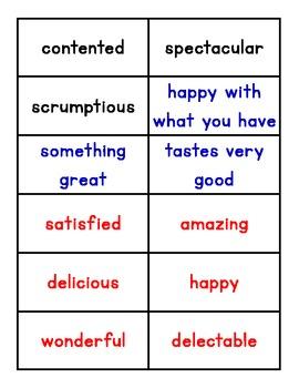 Explicit Vocabulary - contented, spectacular, scrumptious, etc.
