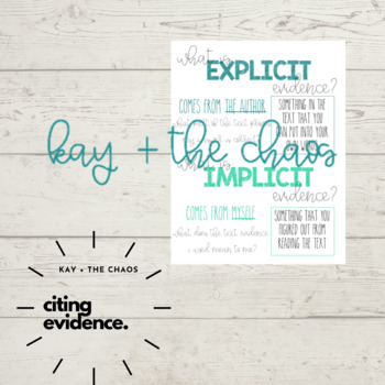 Explicit and Implicit Evidence Anchor Chart
