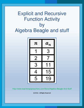 Explicit and Recursive Function Worksheet Activity