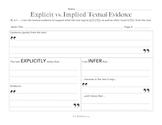 Explicit vs. Implied Textual Evidence Prove It (PLUS PREVIEW)