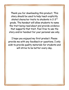 Explicitly stated character traits: Story and Handout