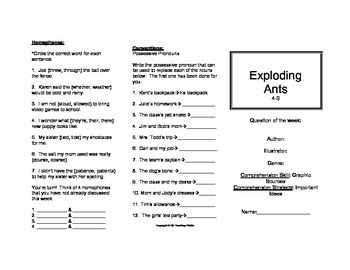 Exploding Ants Trifold (Reading Street 2011 Edition)