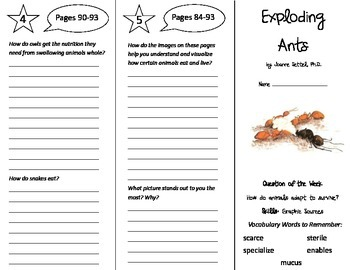 Exploding Ants Trifold - Reading Street 5th Grade Unit 4 Week 3