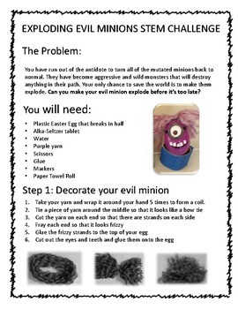 Exploding Evil Minion STEM Challenge - with science worksheets!