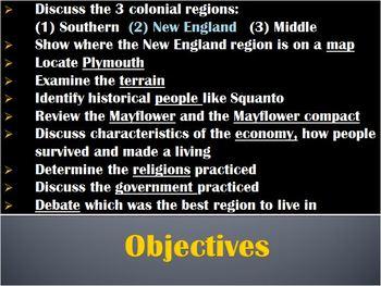 13 Colonies-PowerPoint:Exploration NEW ENGLAND colonies:economy,governm,religion