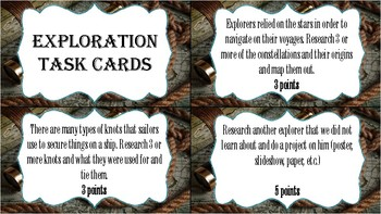 Exploration Extension Project Task Cards