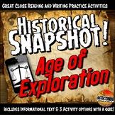 Exploration Historical Snapshot Close Reading, Map Activity & Graphic Organizer