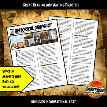 Exploration Historical Snapshot Close Reading, Map Activity & Graphic Organizer