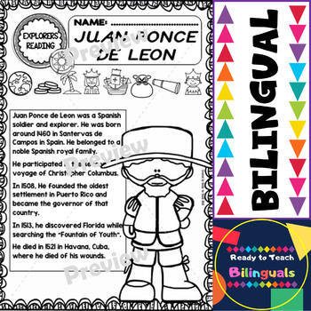Exploration Mini-Unit 10 - Juan Ponce de Leon - Read and Work - Bilingual