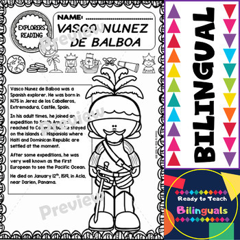 Exploration Mini-Unit 13 - Vasco Nunez de Balboa - Read and Work - Bilingual