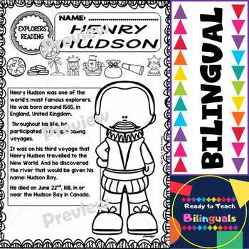 Exploration Mini-Unit 6 - Henry Hudson - Read and Work - Bilingual