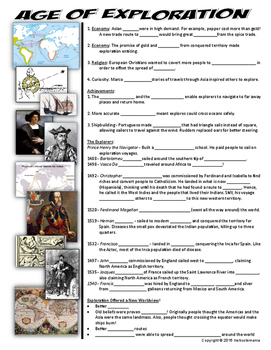 Exploration Two Page Cloze Notes & Graphic Organizer: Age of Exploration