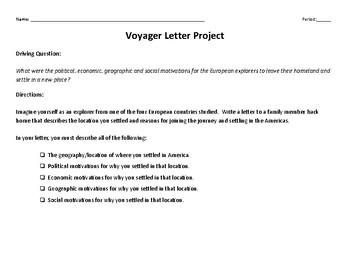 Exploration Voyager Letter Project