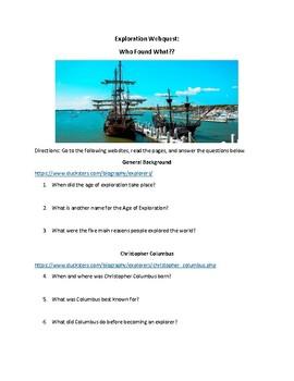 Exploration Webquest (With Key!): Columbus, Cortes, Magellan,  & Ponce de Leon!