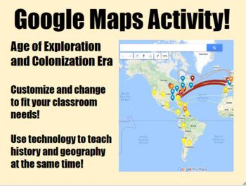 Exploration & Colonization Google Maps Activity for Middle