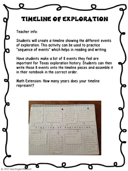 Exploration and Mission Life (in Texas) INTERACTIVE NOTEBOOK Activities