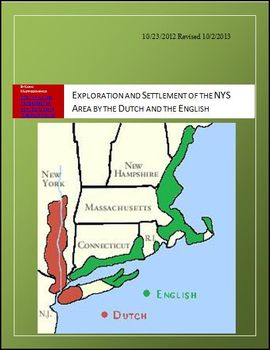 Exploration and Settlement of the NYS Area by the Dutch and English Lesson Plan
