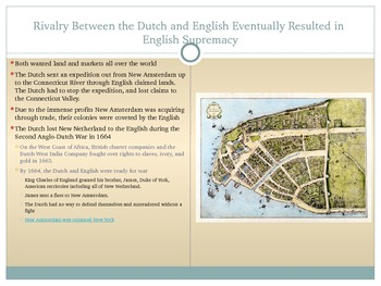 Exploration and Settlement of the NYS Area by the Dutch and English PowerPoint