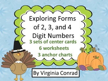 Number Forms--Centers and Worksheets--Thanksgiving