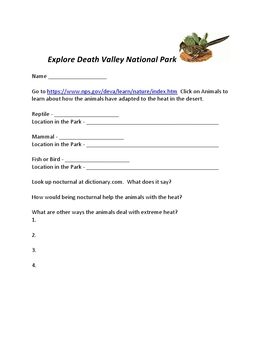 Explore Deserts using Death Valley National Park