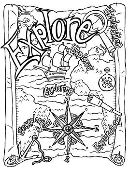 Explore Doodle Coloring Page