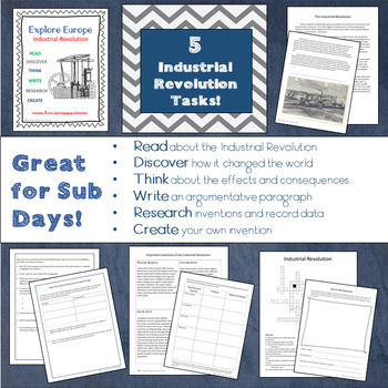 Explore Europe! Industrial Revolution Lesson and Task Pack - Great for SUB DAYS!